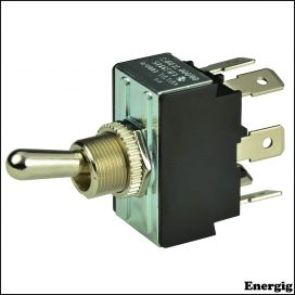 BEP DPDT Chrome Plated Toggle Switch - On/Off/(On)