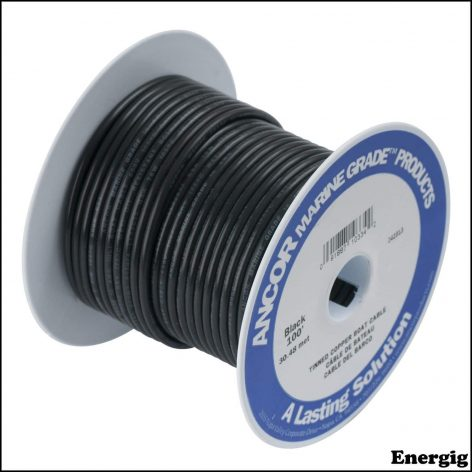 Ancor 25ft Tinned Copper Wire 12 AWG (3mm²) Black