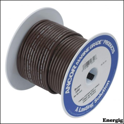Ancor 25ft Tinned Copper Wire 12 AWG (3mm²) Brown