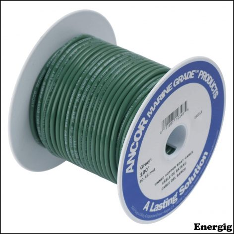 Ancor 25ft Tinned Copper Wire 12 AWG (3mm²) Green