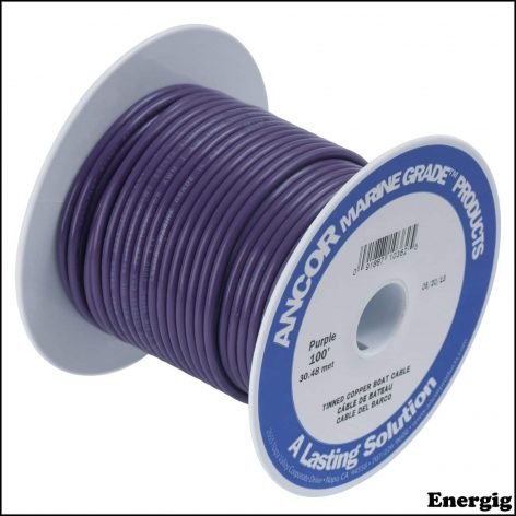 Ancor 25ft Tinned Copper Wire 12 AWG (3mm²) Purple