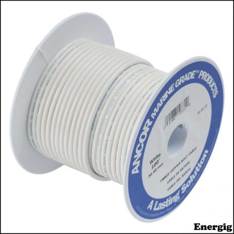 Ancor 25ft Tinned Copper Wire 12 AWG (3mm²) White