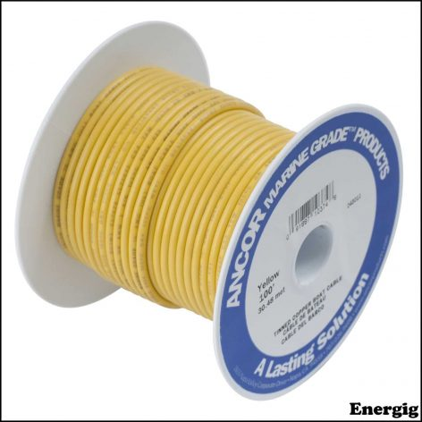 Ancor 250 ft Tinned Copper Battery Cable 4 AWG (21mm²) Yellow