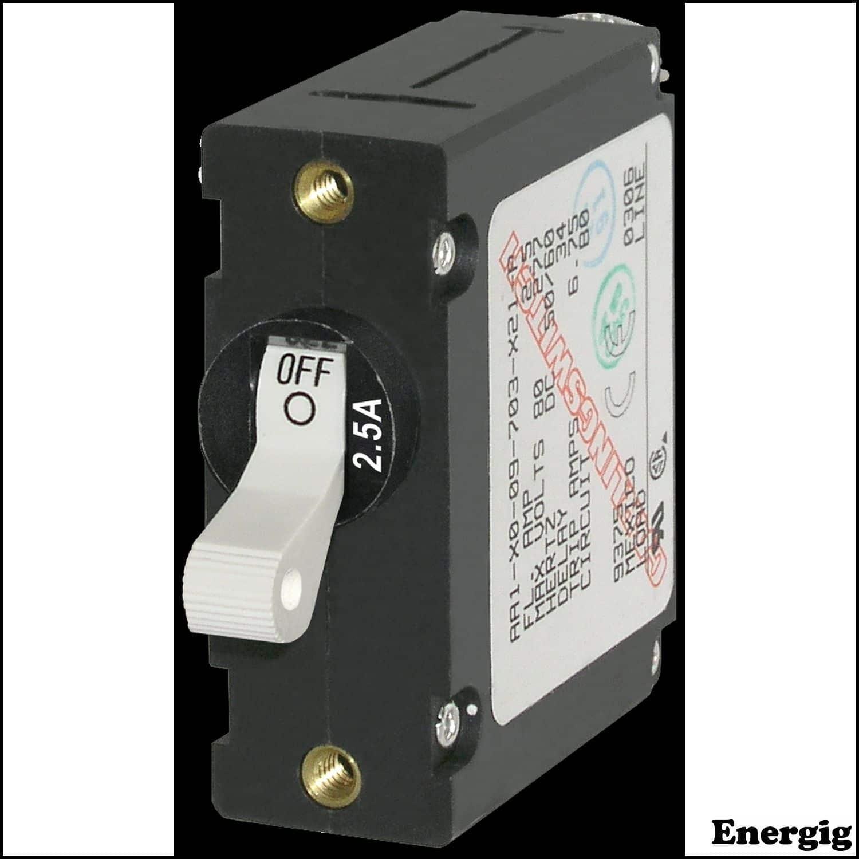 Blue Sea 7224 A-Series Black Toggle Circuit Breaker Single Pole 40A