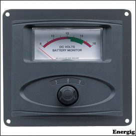 BEP 3 Input Panel Mounted Analog 24V Battery Condition Meter (expanded scale 8-16V DC range)