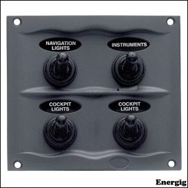 BEP Black Waterproof Panel with 4 Switches