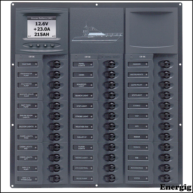 BEP Cruiser Series DC Circuit Breaker Panel with Digital Meters 36SP DC12V